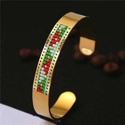 Stainless Steel Seed Beads Open Boho Bangle Style 3 Bracelet