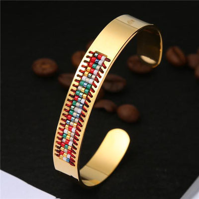 Stainless Steel Seed Beads Open Boho Bangle Style 4 Bracelet