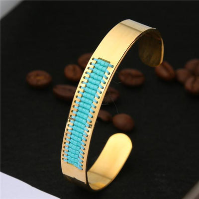 Stainless Steel Seed Beads Open Boho Bangle Style 5 Bracelet