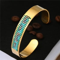 Stainless Steel Seed Beads Open Boho Bangle Style 6 Bracelet