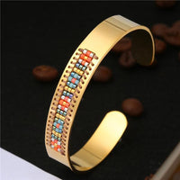 Stainless Steel Seed Beads Open Boho Bangle Style 7 Bracelet