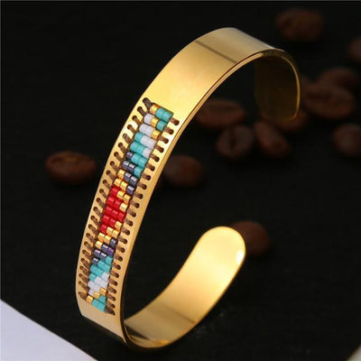 Stainless Steel Seed Beads Open Boho Bangle Style 8 Bracelet