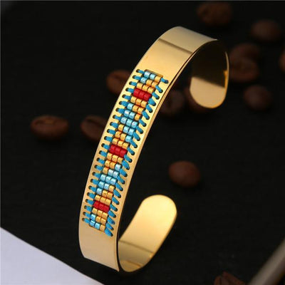 Stainless Steel Seed Beads Open Boho Bangle Style 9 Bracelet