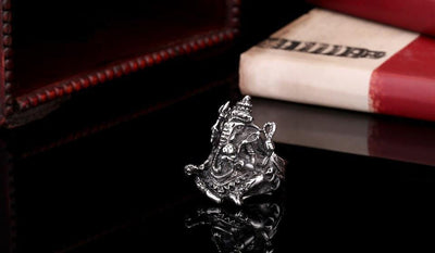 Stainless Steel Silver Lord Ganesha Ring Rings