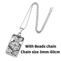 Stainless Steel Tarot Card Pendant Necklace Beads Chain Necklace