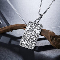 Stainless Steel Tarot Card Pendant Necklace Necklace