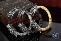 Stainless Steel Twisted Cable Dragon Open Bangle Bracelet