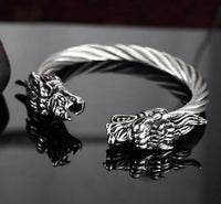 Stainless Steel Twisted Cable Dragon Open Bangle Silver Bracelet