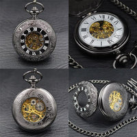 Steampunk Skeleton Mechanical Pocket Watch Style 6 Watches