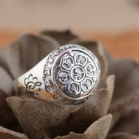 Sterling Silver 6 Syllable Mantra Lotus Signet Ring Rings