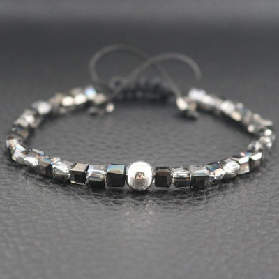 Sterling Silver Bead and Sparkling Square Crystals Friendship Bracelet Black and Clear Bracelet