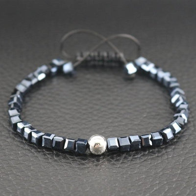 Sterling Silver Bead and Sparkling Square Crystals Friendship Bracelet Black Bracelet