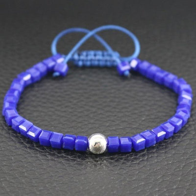 Sterling Silver Bead and Sparkling Square Crystals Friendship Bracelet Blue Bracelet