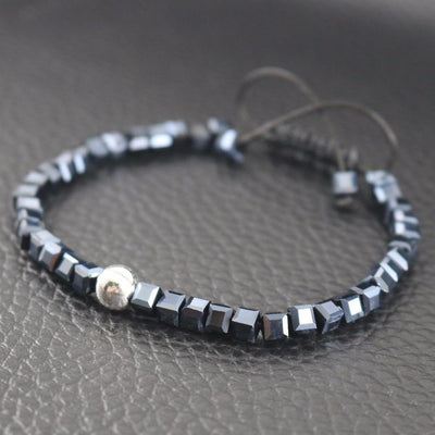 Sterling Silver Bead and Sparkling Square Crystals Friendship Bracelet Bracelet