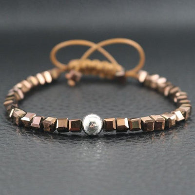 Sterling Silver Bead and Sparkling Square Crystals Friendship Bracelet Brown Bracelet