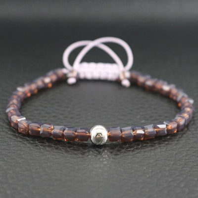 Sterling Silver Bead and Sparkling Square Crystals Friendship Bracelet Coffee Bracelet