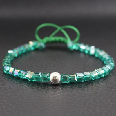Sterling Silver Bead and Sparkling Square Crystals Friendship Bracelet Green Bracelet