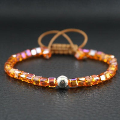 Sterling Silver Bead and Sparkling Square Crystals Friendship Bracelet Orange Bracelet