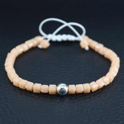 Sterling Silver Bead and Sparkling Square Crystals Friendship Bracelet Peach Bracelet