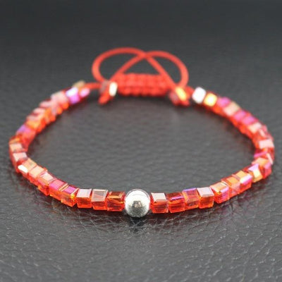 Sterling Silver Bead and Sparkling Square Crystals Friendship Bracelet Red Bracelet
