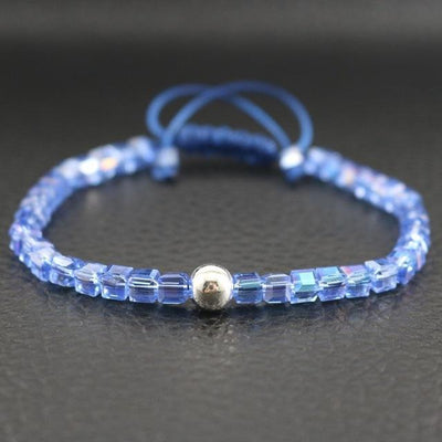 Sterling Silver Bead and Sparkling Square Crystals Friendship Bracelet Sky Blue Bracelet