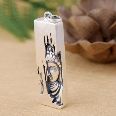 Sterling Silver Buddha Carving Pendant pendant