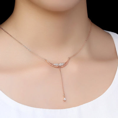 Sterling Silver Drop of Heaven Necklace Rose Gold Necklace