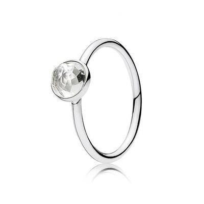 Sterling Silver Faceted Droplet Birthstone Rings April / 6 Rings