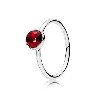 Sterling Silver Faceted Droplet Birthstone Rings July / 6 Rings