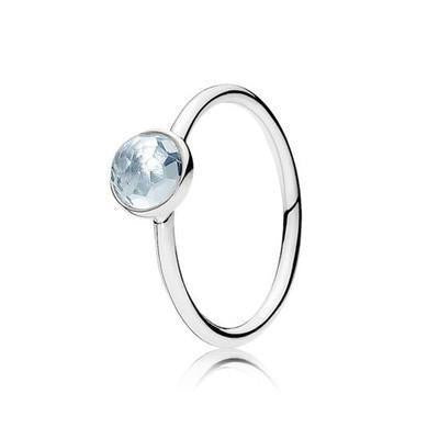 Sterling Silver Faceted Droplet Birthstone Rings March / 6 Rings