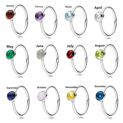 Sterling Silver Faceted Droplet Birthstone Rings Rings