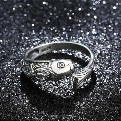 Sterling Silver Koi Lotus Ring Rings