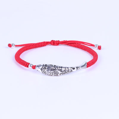 Sterling Silver Lucky Fish Buddhist Knots Rope Bracelet Bracelet