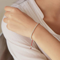 Sterling Silver Lucky Red Rope Prosperity Bracelet Bracelet
