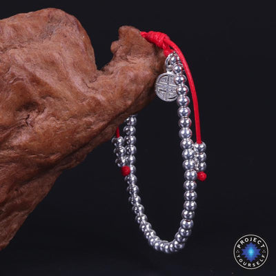 Sterling Silver Lucky Red Rope Prosperity Bracelet - Project Yourself