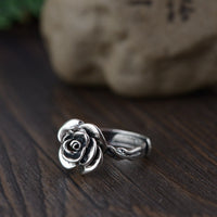 Sterling Silver Vintage Rose Ring Rings