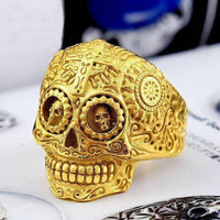 Sugar Skull Ring 8 / Gold Rings