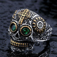 Sugar Skull Ring 8 / Green Eye Rings