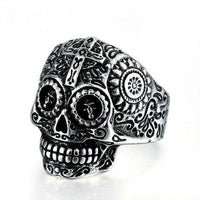 Sugar Skull Ring 8 / Silver Rings