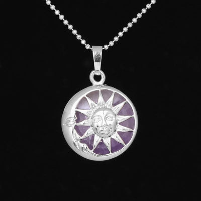 Sun And Moon Healing Stone Openwork Necklace Amethyst Necklace