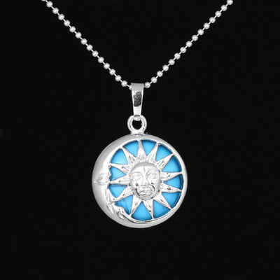 Sun And Moon Healing Stone Openwork Necklace Blue Turquoise Necklace