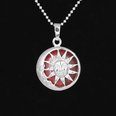Sun And Moon Healing Stone Openwork Necklace Cherry Quartz Necklace