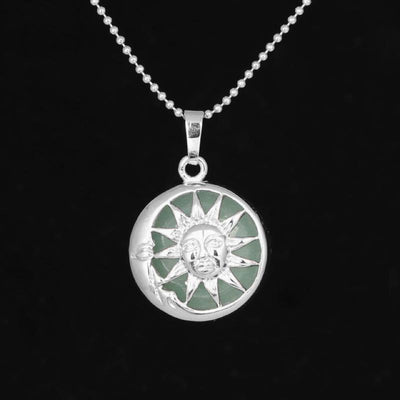 Sun And Moon Healing Stone Openwork Necklace Green Aventurine Necklace