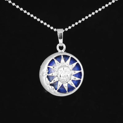 Sun And Moon Healing Stone Openwork Necklace Lapis Lazuli Necklace
