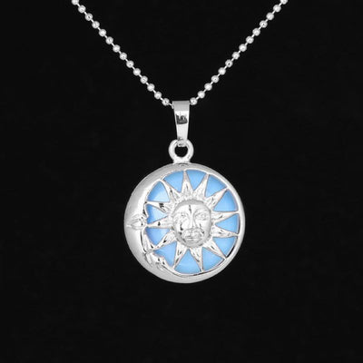 Sun And Moon Healing Stone Openwork Necklace Opal Necklace