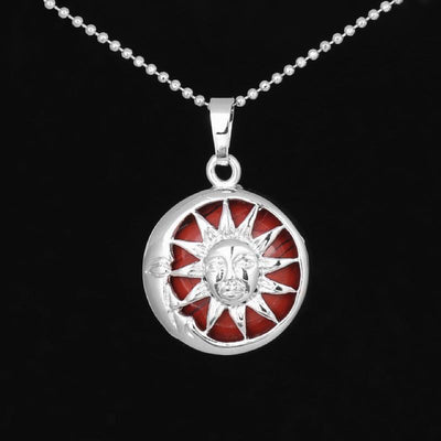 Sun And Moon Healing Stone Openwork Necklace Red Jasper Necklace
