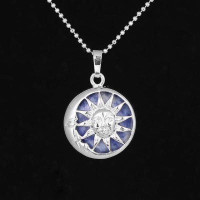 Sun And Moon Healing Stone Openwork Necklace Sodalite Necklace