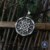 Svarog Square Star of Rus Pendant Necklace Antique Silver Plated Necklace
