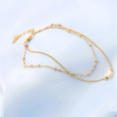 Sweet Heart Double Chain Gold Anklets Anklets