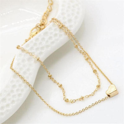 Sweet Heart Double Chain Gold Anklets Gold Anklets